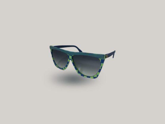 occhiali da sole vintage silhouette verdi e blu fantasia